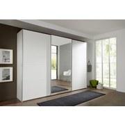 Schwebetürenschrank mit Spiegel 270cm Ernie, Alpinweiß Dekor - Weiß, MODERN, Glas/Holzwerkstoff (270/210/65cm) - MID.YOU