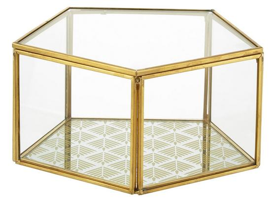 Dekobox Adriana Klar/goldfarben - zlatá/číre, kov/sklo (15,5cm) - Modern Living