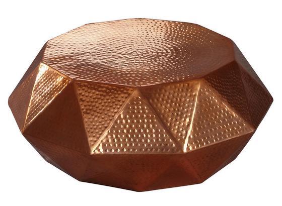 Runder Couchtisch Metall mit Ablage Diamant, Kupferfarben - Kupferfarben, LIFESTYLE, Metall (73/73/28,5cm) - Livetastic