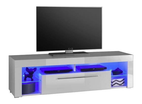 TV-Element Goal 1 B: 153 cm Weiß - Weiß, Design, Glas/Holzwerkstoff (153/44/44cm) - Carryhome