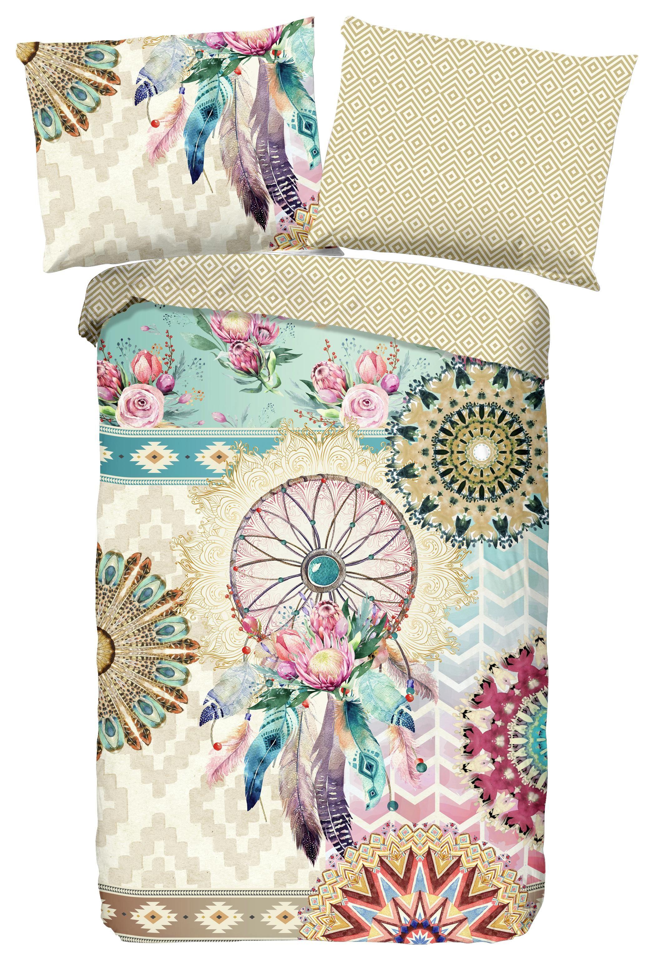 Wendebettwäsche Milena - Sandfarben/Multicolor, MODERN, Textil