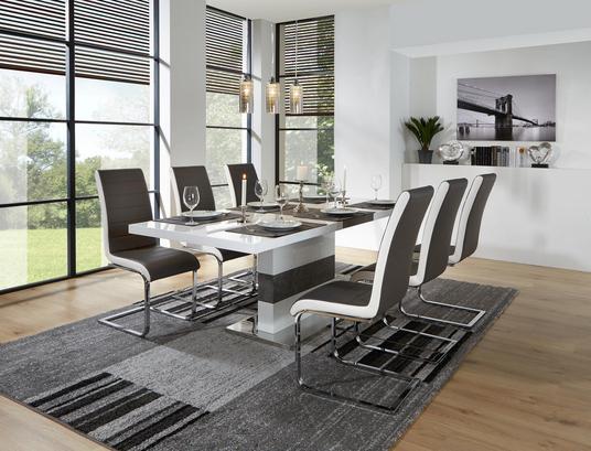 Weißer Esstisch in modernem Design mit ausziehbarer Tischplatte