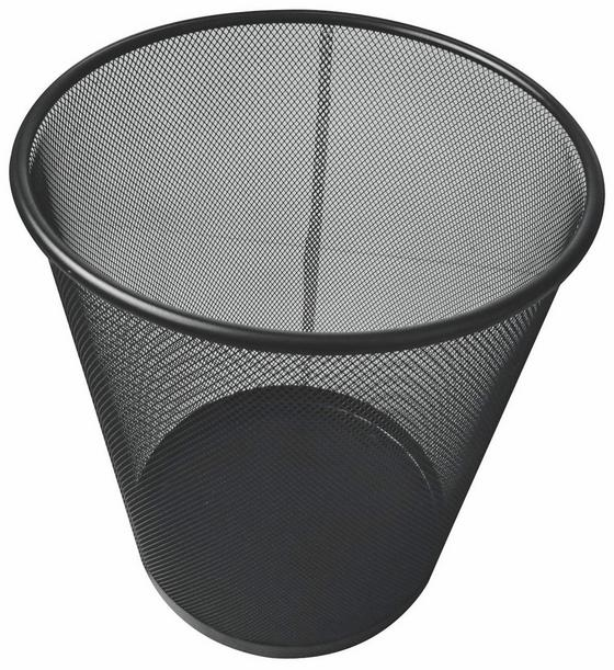 Papierkorb Mesh - Schwarz, MODERN, Metall (30,5/34,5cm)