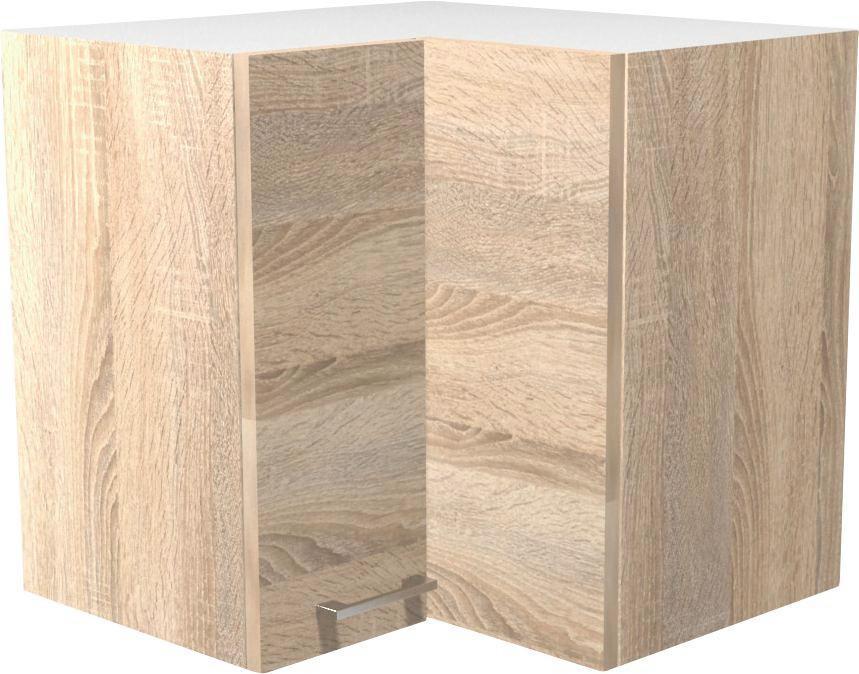 Rohová Horná Skrinka Samoa  He 60 - farby dubu/biela, Konvenčný, drevený materiál (60/54/32cm)