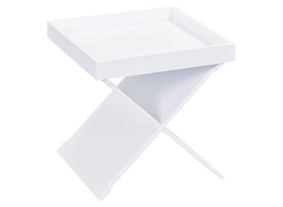 Beistelltisch Egon B: 40 cm Weiß - Weiß, Basics, Holzwerkstoff (40/41/40cm) - Livetastic