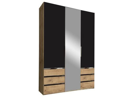 Drehtürenschrank mit Spiegel 150cm Level 36a, Graphit Dekor - Eichefarben/Graphitfarben, MODERN, Glas/Holzwerkstoff (150/216/58cm)