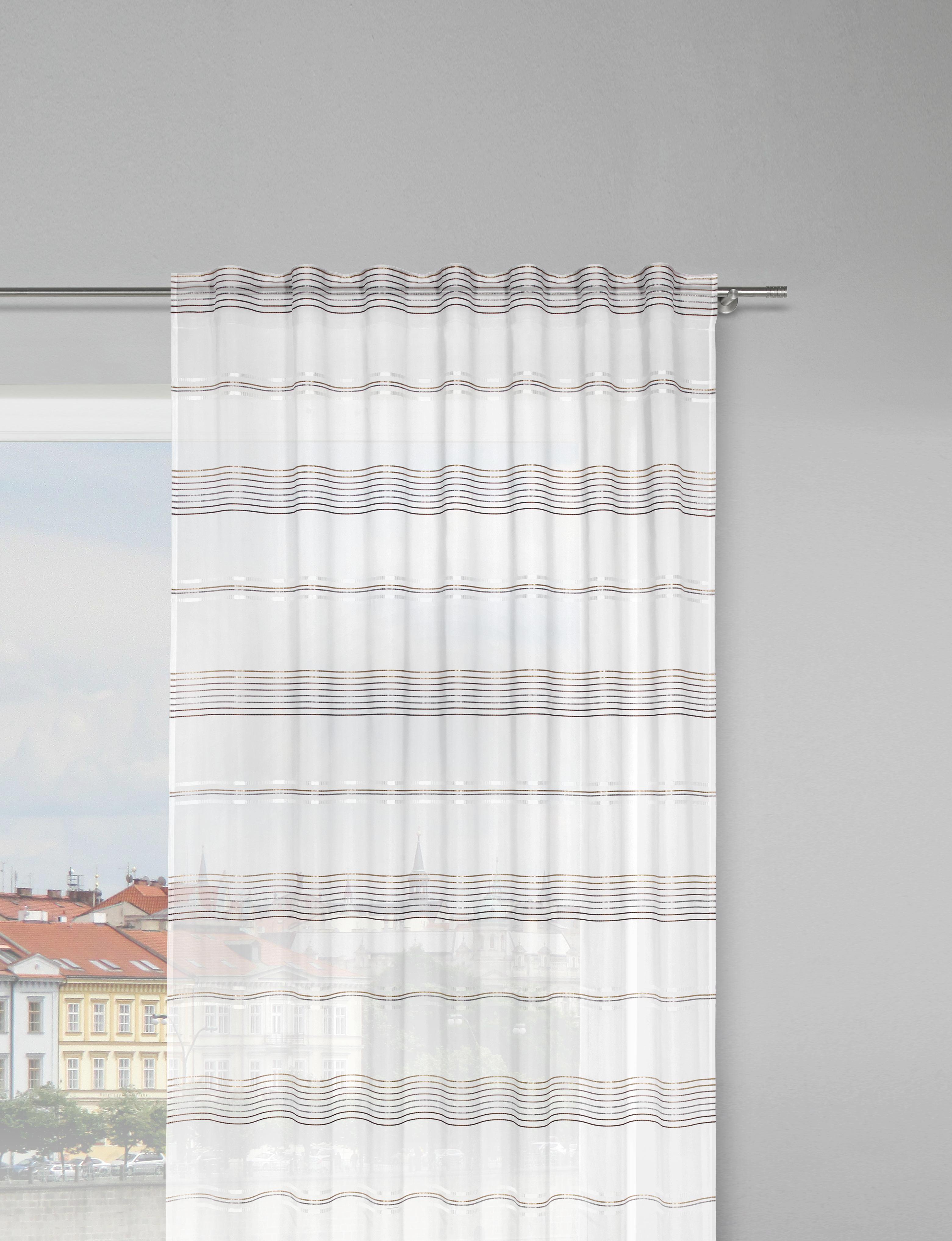 Záves Louis - hnedá/biela, Konvenčný, textil (140/245cm) - MÖMAX modern living
