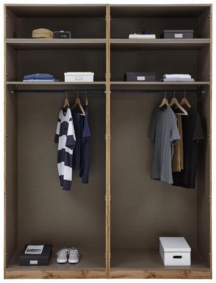 Offener Kleiderschrank mit zwei Einlegeböden und zwei Kleiderstangen