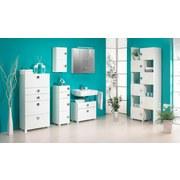 Midischrank Quadra B: 65 cm Weiß - Chromfarben/Weiß, MODERN, Holzwerkstoff (65,0/133,5/34,5cm) - MID.YOU