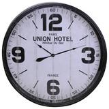 Wanduhr Union Hotel DM: 90 cm - Schwarz/Weiß, Metall (90cm)