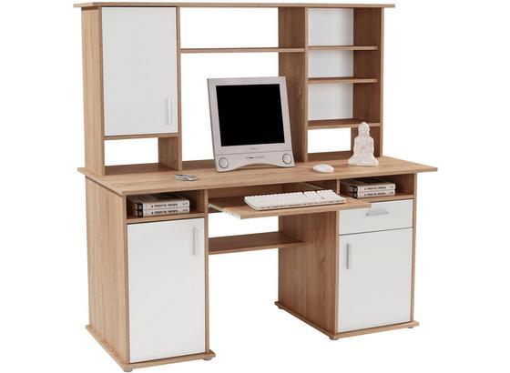 Schreibtisch mit Stauraum + Tastaturauszug B 160cm Thema2 - Weiß/Sonoma Eiche, MODERN, Holzwerkstoff/Kunststoff (160/153,4cm)