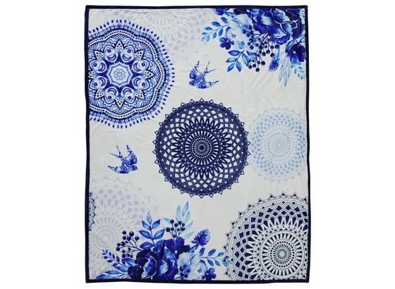 Kuscheldecke Grande - Blau/Weiß, Textil (130/160cm)