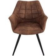 Stuhl Marbella Hellbraun - Hellbraun/Schwarz, MODERN, Textil/Metall (57,5/85/62cm) - Ombra