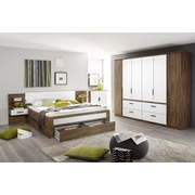 Postel Bernau 160x200cm - bílá/barvy dubu, Moderní, dřevěný materiál (160/200cm)
