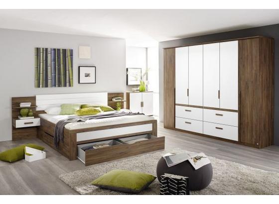 Postel Bernau 160x200cm - bílá/barvy dubu, Moderní, kompozitní dřevo (160/200cm)