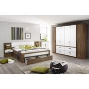 Posteľ Bernau 160x200cm - farby dubu/biela, Moderný, drevený materiál (160/200cm)