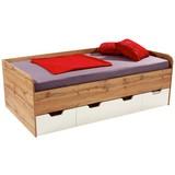 Postel Frame - bílá/barvy dubu, Konvenční, dřevěný materiál (204/60/94cm)