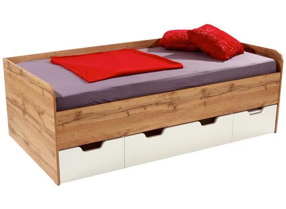 Posteľ Frame - farby dubu/biela, Konvenčný, kompozitné drevo (204/60/94cm)
