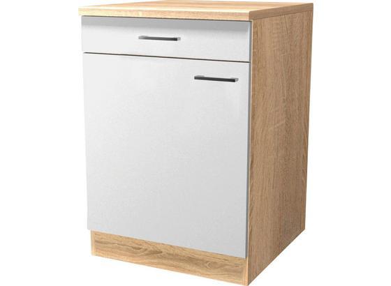 Spodná Kuchynská Skrinka Samoa  Us 60 - farby dubu/biela, Konvenčný, kompozitné drevo (60/85/57cm)