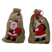 Weihnachtssack Weihnachtsmann - Rot/Naturfarben, Basics, Textil (20/29/0,5cm)