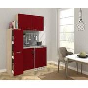 Miniküche B: 130 cm Rot/Eiche - Edelstahlfarben/Eichefarben, MODERN, Holzwerkstoff/Metall (130/146/60cm) - MID.YOU