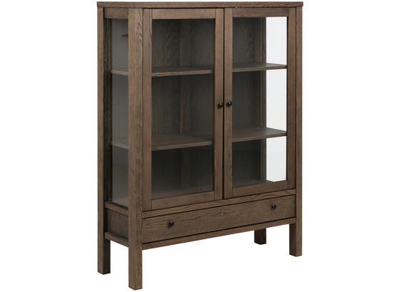 Vitrine Brentwood B: 110cm Dunkelbraun - Dunkelbraun, KONVENTIONELL, Glas/Holz (110/145,5/37cm) - Carryhome