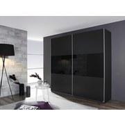 Schwebetürenschrank mit Glas 218cm Loriga, Grau/Schwarz - Schwarz/Grau, Design, Glas/Holzwerkstoff (218/210/59cm) - MID.YOU