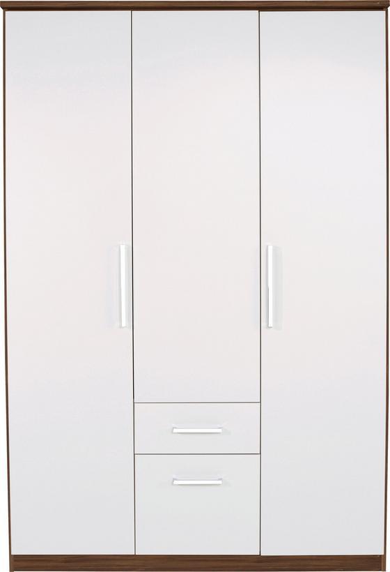 Kleiderschrank Wien 136cm - Eichefarben/Weiß, KONVENTIONELL, Holzwerkstoff (136/212/56cm)