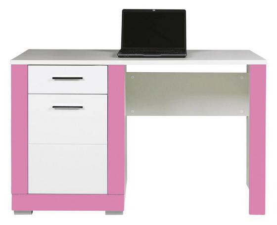 Psací Stůl Derby - bílá/růžová, Moderní, dřevěný materiál (128/77,5/67cm)