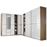 Eckschrank mit Spiegel 266x259cm Essensa, Eiche/Weiß - Eichefarben/Weiß, Design, Holzwerkstoff (223/359cm) - Livetastic