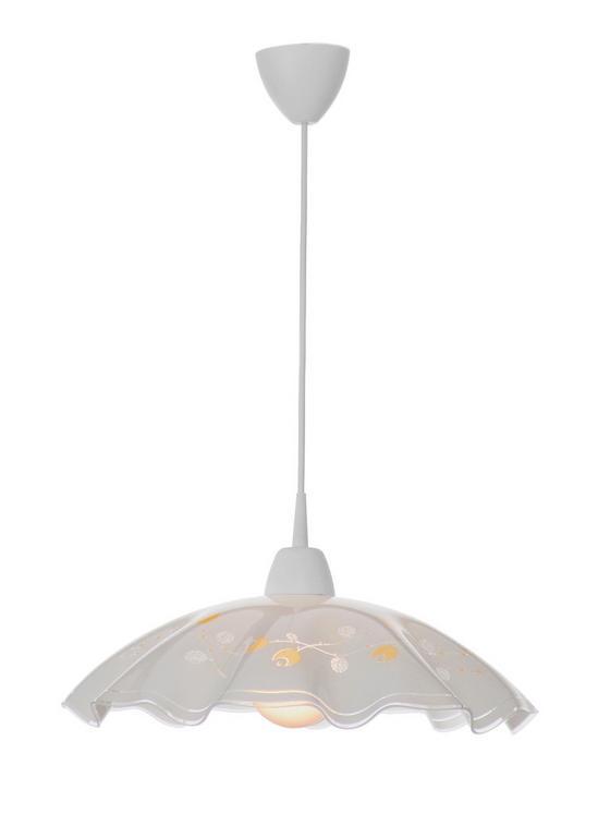 Hängeleuchte Riga - Gelb/Weiß, KONVENTIONELL, Glas/Kunststoff (43/100cm) - Ombra