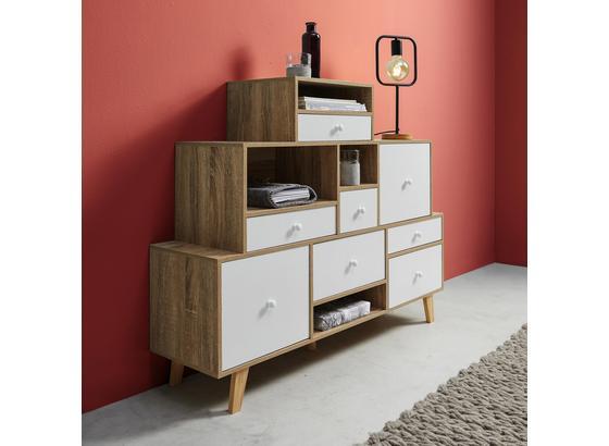 Komoda Claire - farby dubu/biela, Moderný, drevo (118/95/30cm) - Modern Living