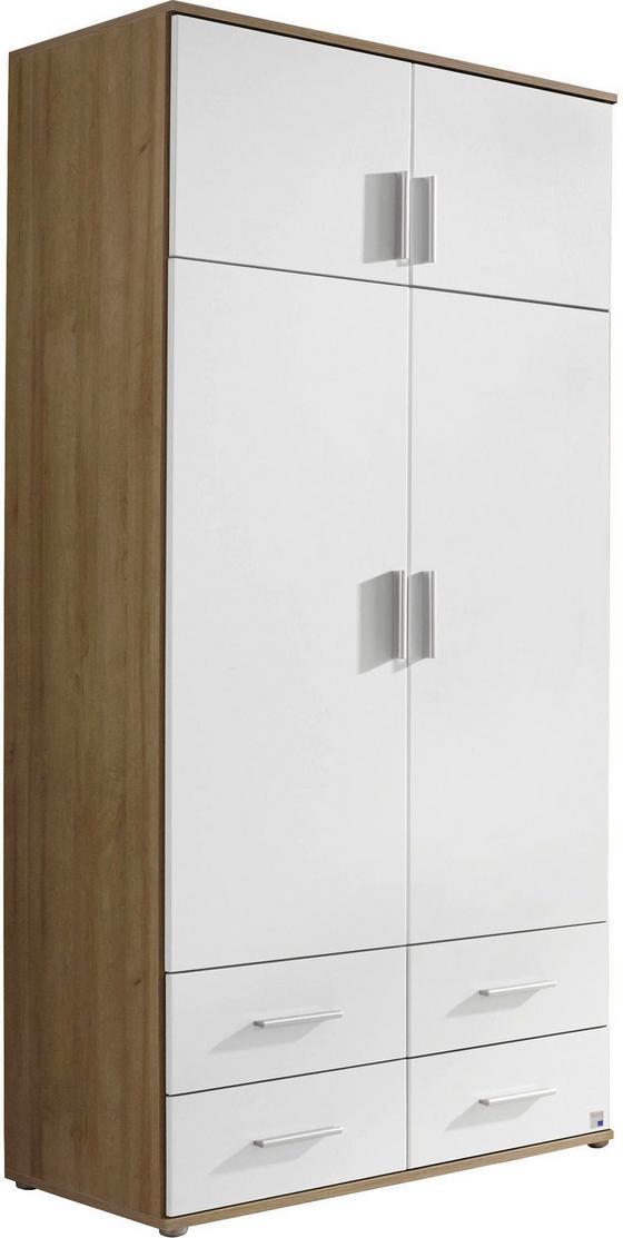 DREHTÜRENSCHRANK Kemi 92 cm Eiche/ Weiß - Eichefarben/Weiß, MODERN, Holzwerkstoff (92/194/53cm)