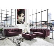 Zweisitzer-Sofa Monroe B: ca. 185 cm - Silberfarben/Aubergine, Trend, Textil (185/80/96cm) - Carryhome