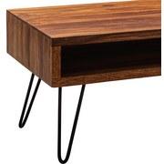 Couchtisch Holz mit Massiver Tischplatte + Ablage, Sheesham - Sheeshamfarben/Schwarz, MODERN, Holz/Metall (100/50/40cm) - Livetastic