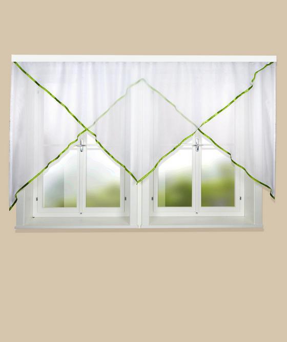 Blumenfensterstore Charlotte - Grün, KONVENTIONELL, Textil (600/145cm) - Ombra