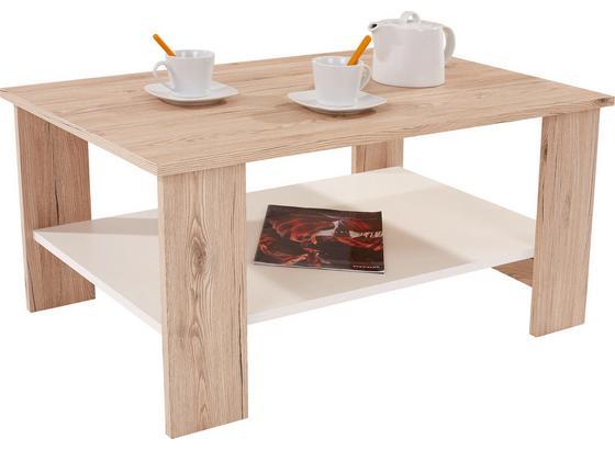 Couchtisch Holz mit Ablagefach Paolo, San Remo Eiche Dekor - Eichefarben/Weiß, MODERN, Holzwerkstoff (90/41/55cm)