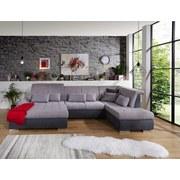 Wohnlandschaft in U-Form Madera ca. 190x358x212cm - Anthrazit/Silberfarben, MODERN, Kunststoff/Textil (190/358/212cm) - Ombra