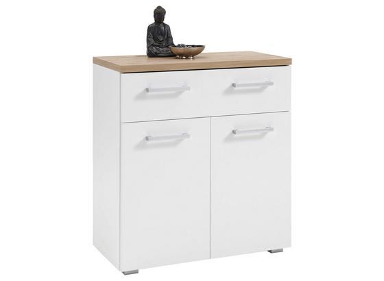 Schuhschrank Gomera B: 78 cm Weiß - Eichefarben/Silberfarben, MODERN, Holzwerkstoff (78/85/38cm)