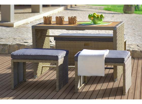 Gartenset Kiato - Braun/Grau, MODERN, Kunststoff/Textil - Luca Bessoni