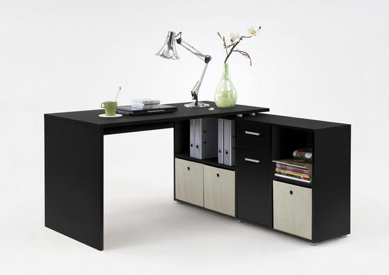 Písací Stôl Lex - čierna, Moderný, drevený materiál (136/137/74/71/66,5/33cm)