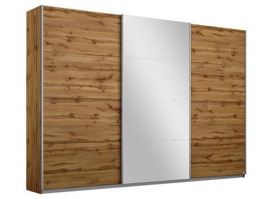 Schwebetürenschrank mit Spiegel 271cm Belluno, Eiche Dekor - Eichefarben, MODERN, Holzwerkstoff (271/210/62cm)