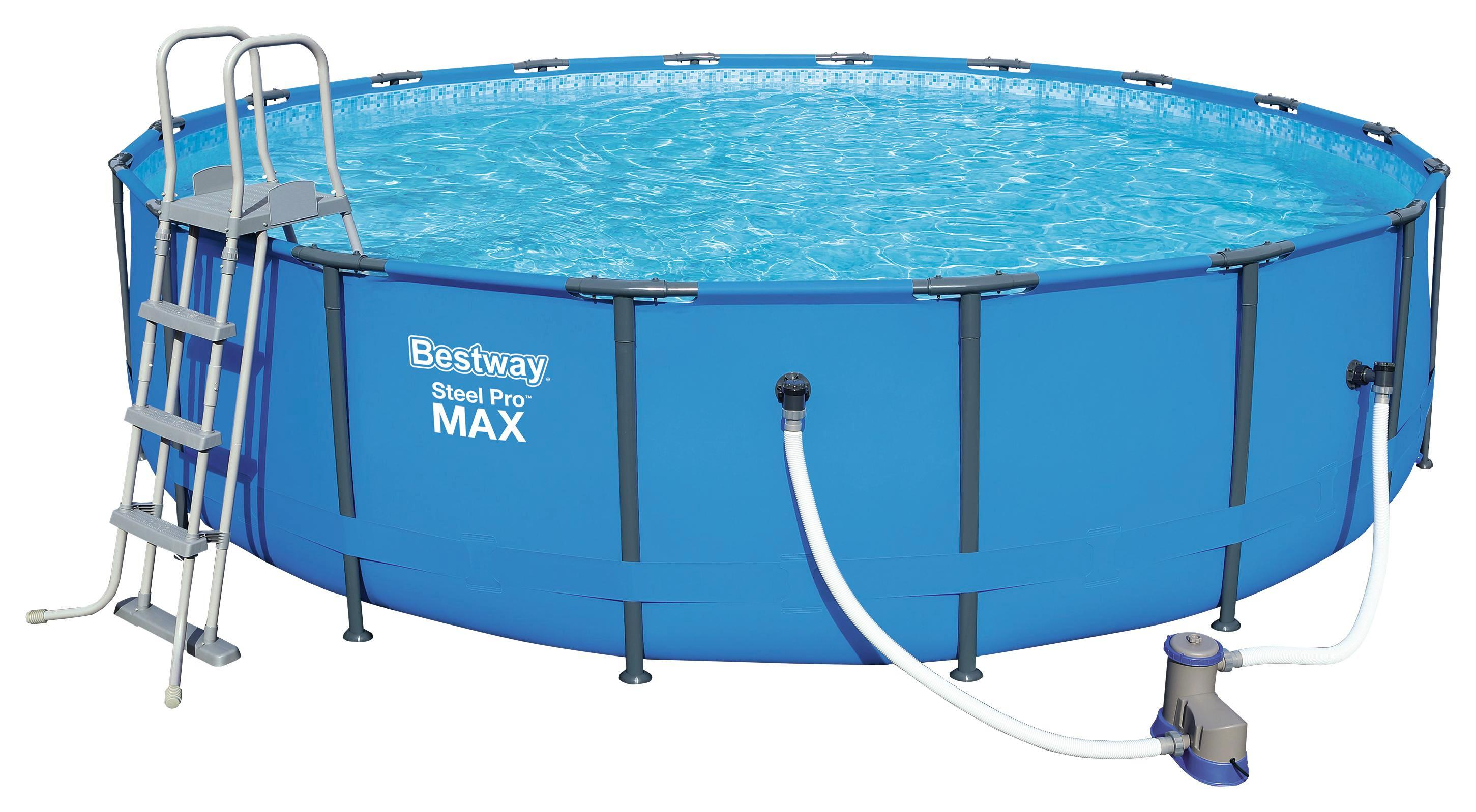 Bestway Schwimmbecken Steel Pro Max Pool Set   Blau/Weiß, MODERN,  Kunststoff/