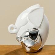 Dekoelefant Beni - Weiß/Silbereichenfarben, MODERN, Keramik (12/7/13cm)