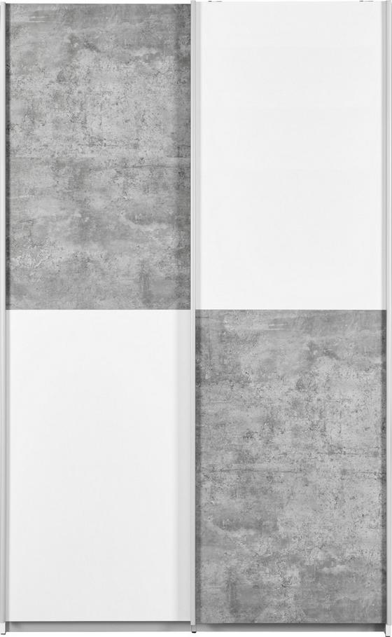Víceúčelová Skříň Ohio - bílá/šedá, kov/dřevo (120/190,5/42cm)