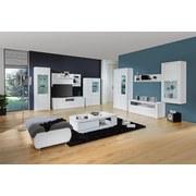 Hängevitrine Bree inkl. LED- Beleuchtung B:66cm Weiß Dekor - Weiß/Grau, MODERN, Glas/Holzwerkstoff (66/140,2/37,7cm)