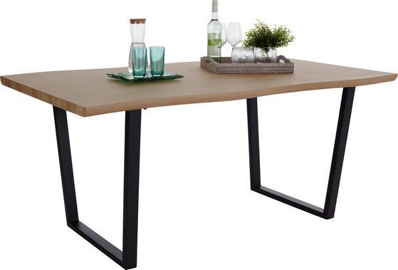 Esstisch mit Tischplatte aus Eiche Artisan Dekor und schwarzem Gestell
