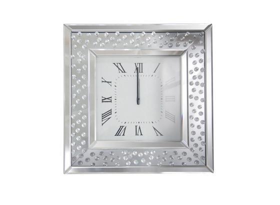 Nástenné Hodiny Crystal - strieborná, Moderný, kompozitné drevo/sklo (50,5/50,5/5,3cm) - Mömax modern living