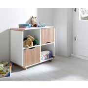 Regal mit Schranktüren Sam B 74,5cm, Buche Dekor/Weiß - Buchefarben/Naturfarben, Design, Holz/Holzwerkstoff (74,5/64,5/40cm) - Livetastic