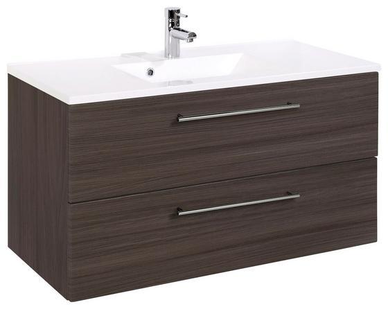 Waschtischkombi Mailand 100 cm Eiche Dekor - Eichefarben/Weiß, MODERN, Holzwerkstoff/Kunststoff (100/54/47cm)
